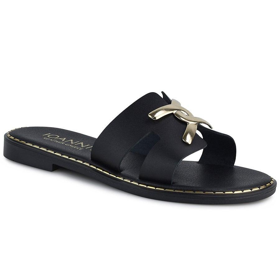 Δερμάτινo μαύρo σανδάλι IOANNIS ID201