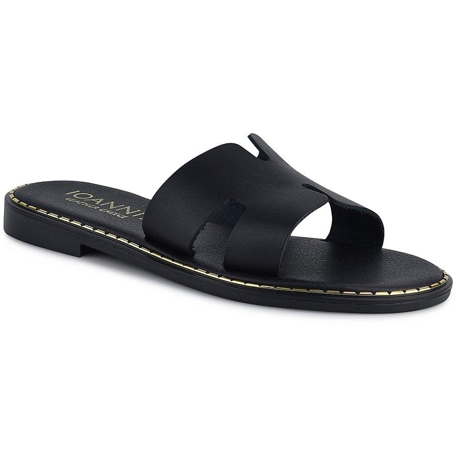 Δερμάτινo μαύρo σανδάλι IOANNIS ID250