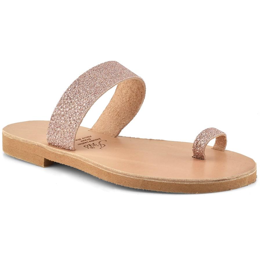 Δερμάτινη ροζ σαγιονάρα με glitter Iris Sandals IR14