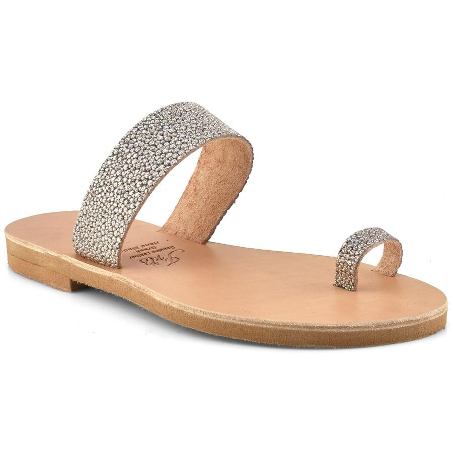 Δερμάτινη ασημί σαγιονάρα με glitter Iris Sandals IR14