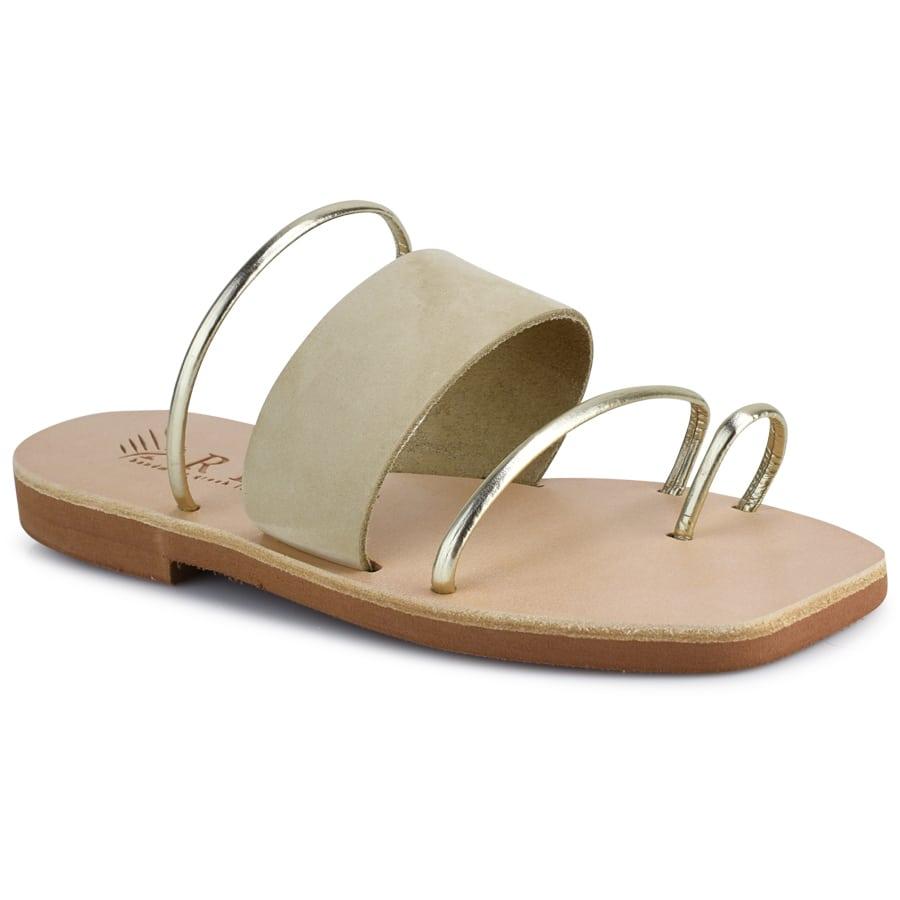 Δερμάτινη μπεζ καρέ σαγιονάρα Iris Sandals IR20/28