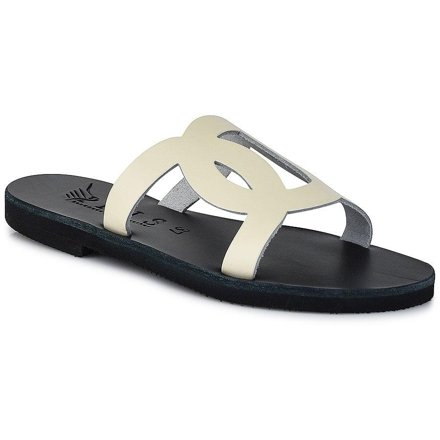 Δερμάτινη εκρού σαγιονάρα Iris Sandals IR20/8