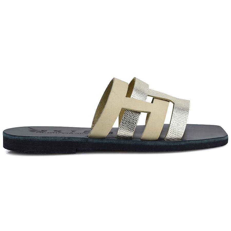 Δερμάτινη μπεζ σαγιονάρα Iris Sandals IR235