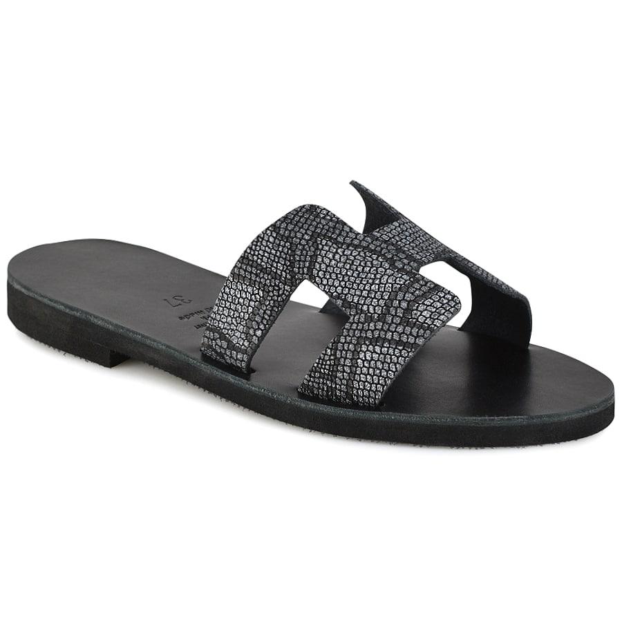Δερμάτινη μαύρη σαγιονάρα με glitter Iris Sandals IR8/9