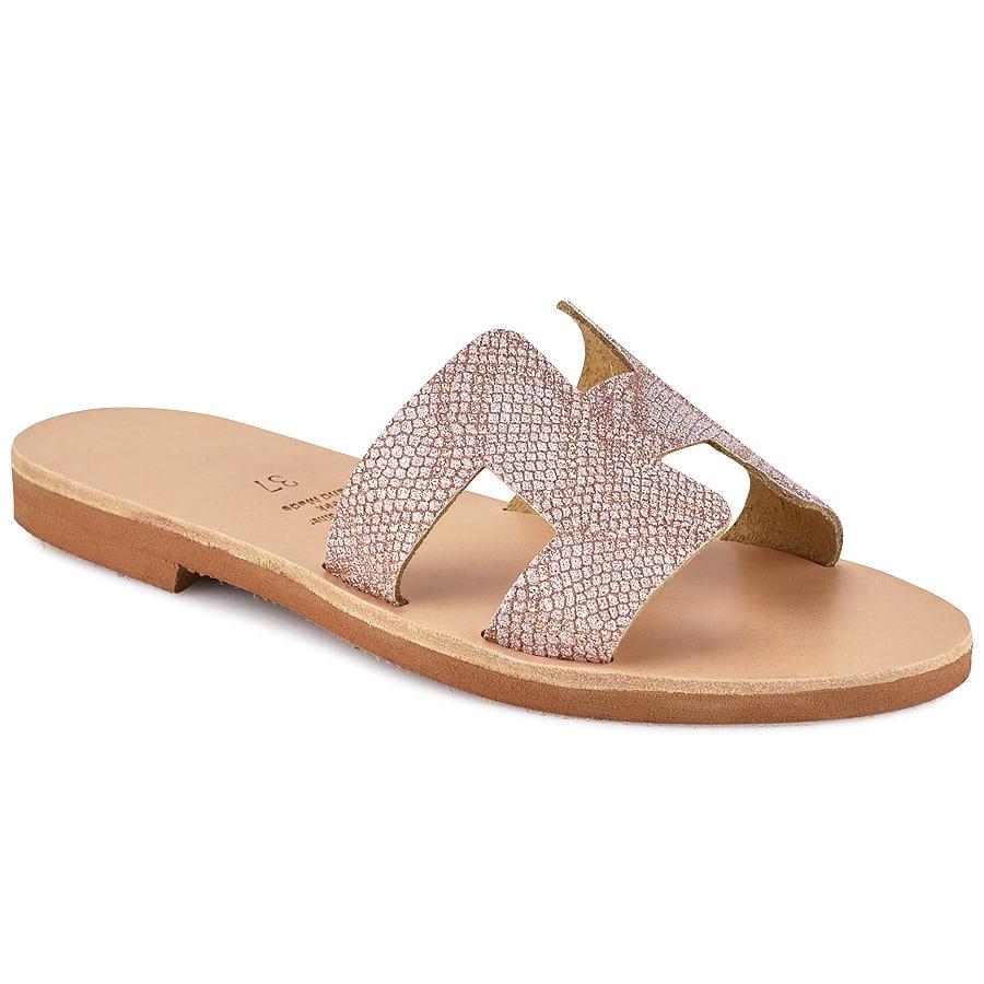 Δερμάτινη ροζ σαγιονάρα με glitter Iris Sandals IR8/9