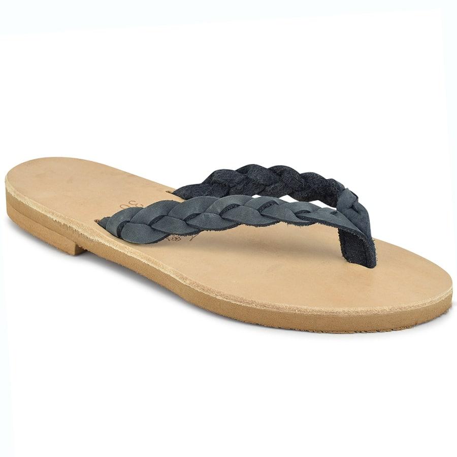 Δερμάτινη γκρι σαγιονάρα με κοτσίδα Iris Sandals IR80