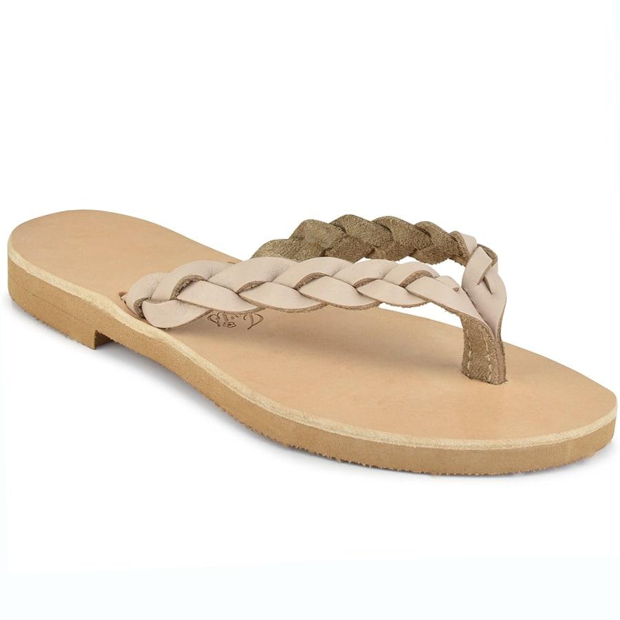 Δερμάτινη μπεζ σαγιονάρα με κοτσίδα Iris Sandals IR80