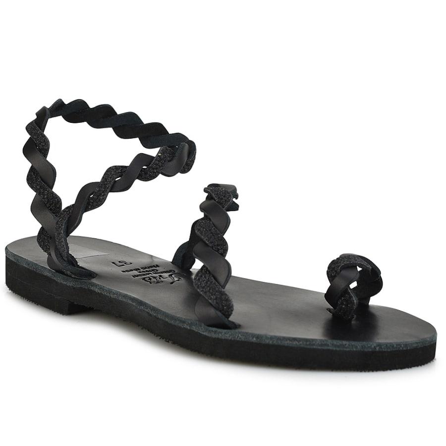 Δερμάτινο μαύρο σανδάλι με glitter Iris Sandals IR9/13