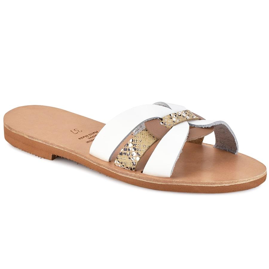 Δερμάτινη λευκή σαγιονάρα Iris Sandals IR9/3