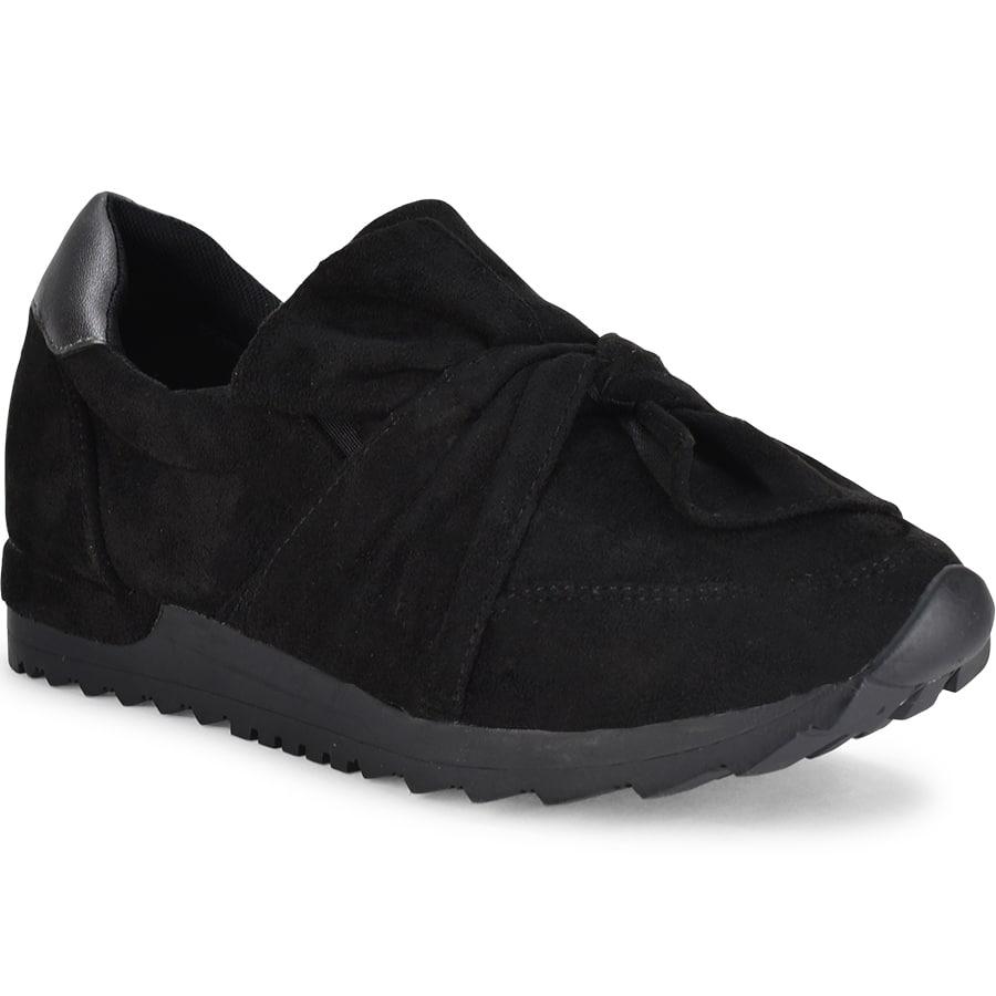 Μαύρο σουεντ sneakers Lets Walk JN44-03