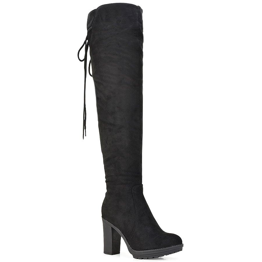 Μαύρη σουέντ μπότα πάνω από το γόνατο JS105