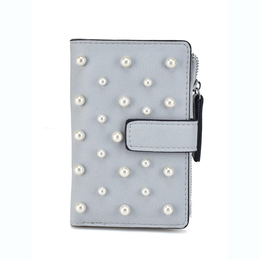 Γκρι πορτοφόλι με πέρλες L172