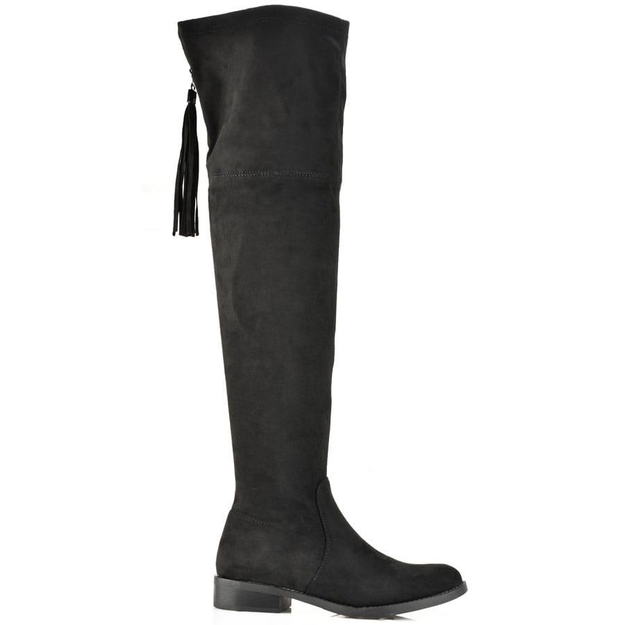 Μαύρη σουέντ μπότα πάνω από το γόνατο LH53-1