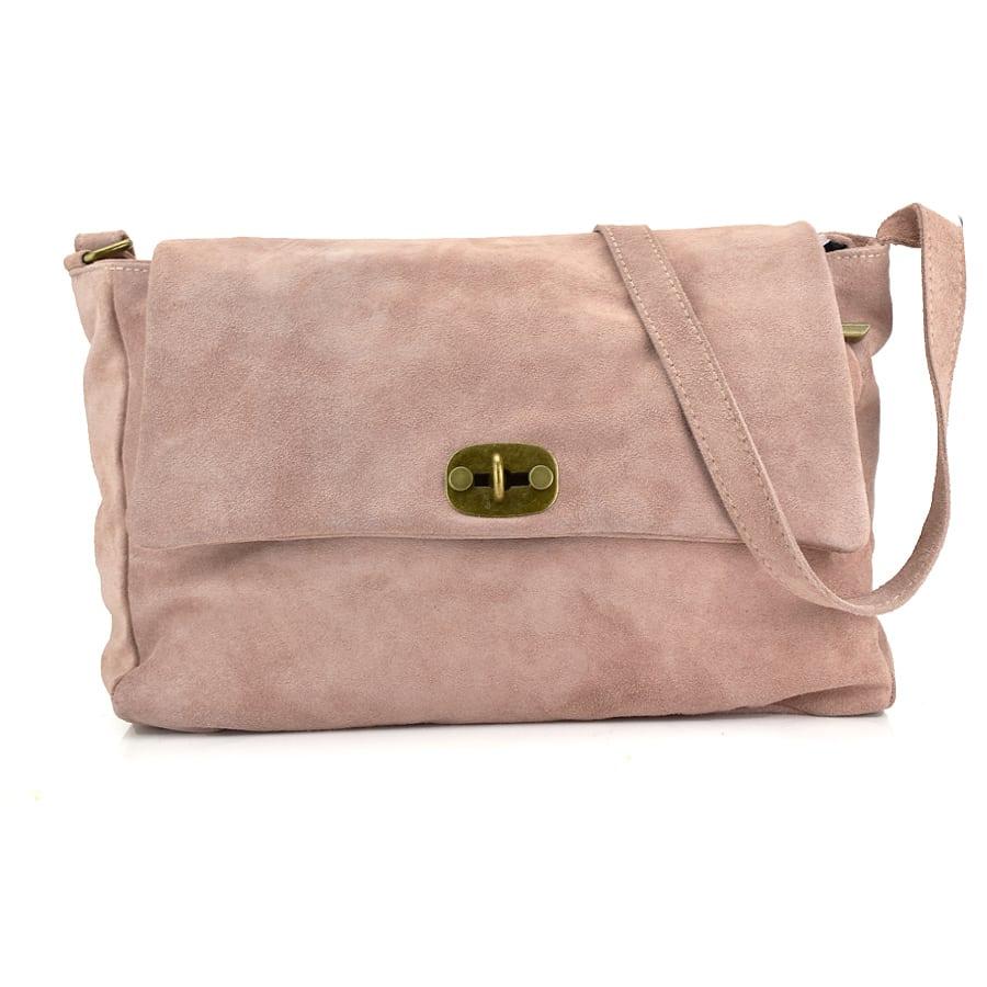 Δερμάτινη ροζ τσάντα ώμου NADIA