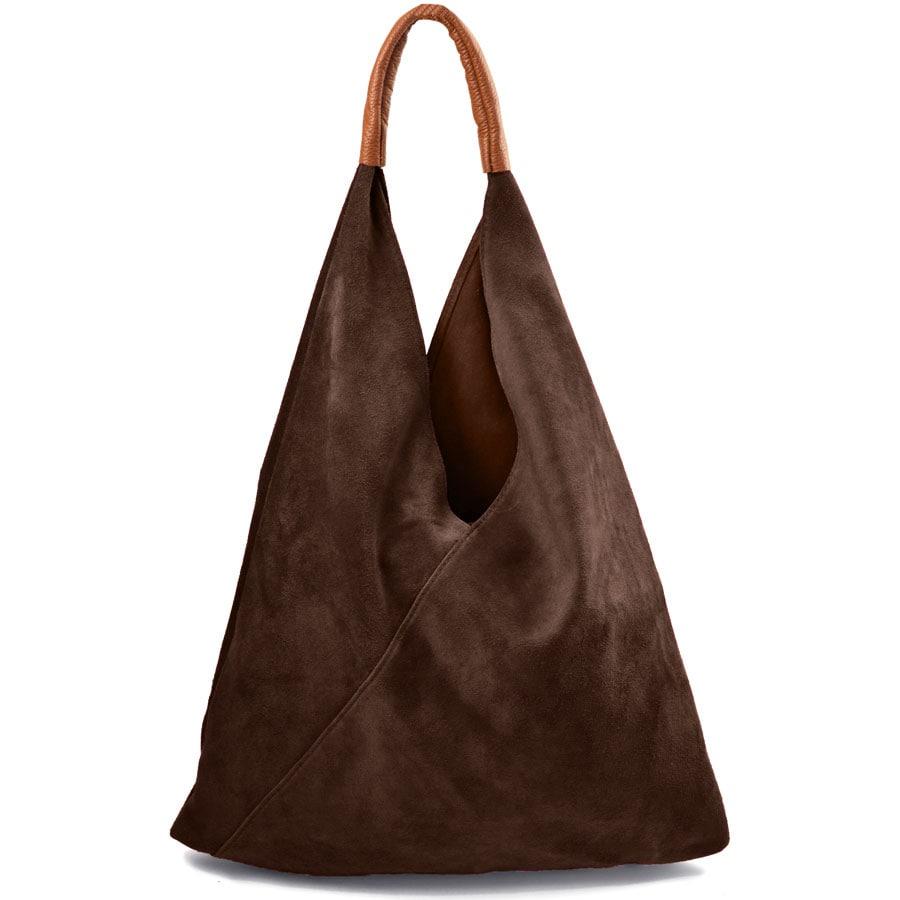 Δερμάτινη καφέ hobo bag Didi