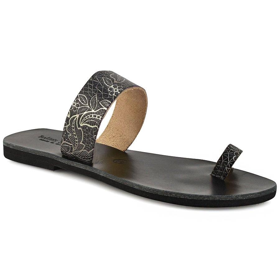 Δερμάτινη μαύρο με print σαγιονάρα Tsakiris Sandals TS15