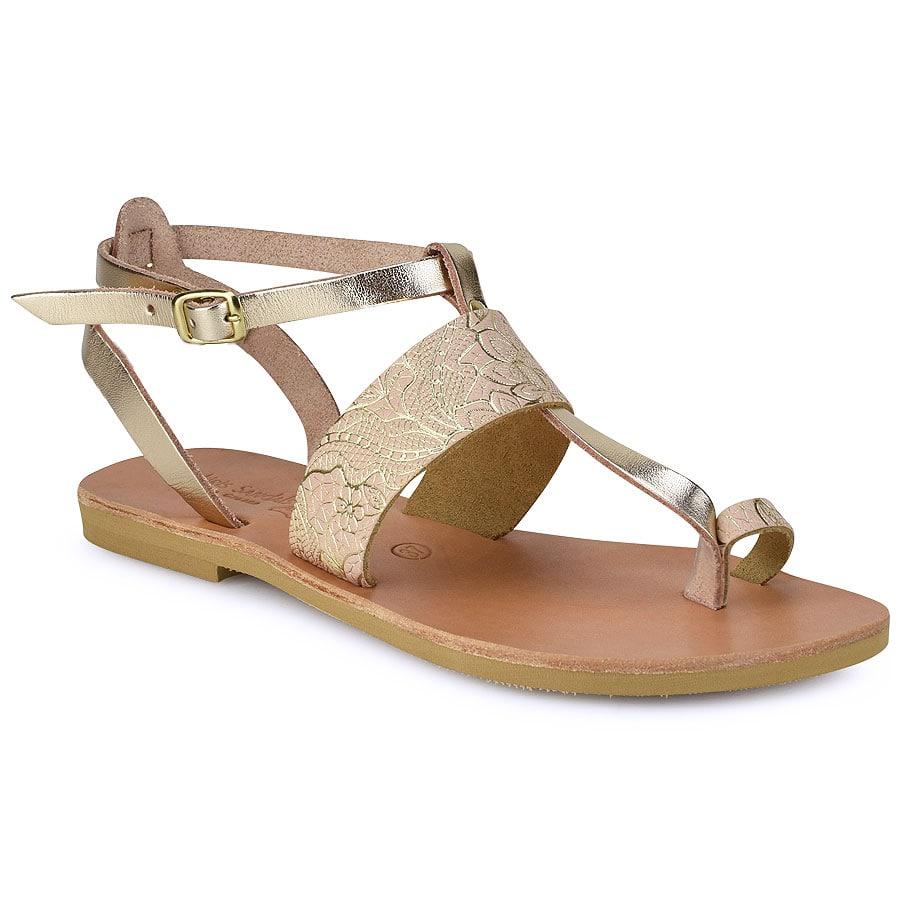 Δερμάτινο μπεζ με print σανδάλι Tsakiris Sandals TS608