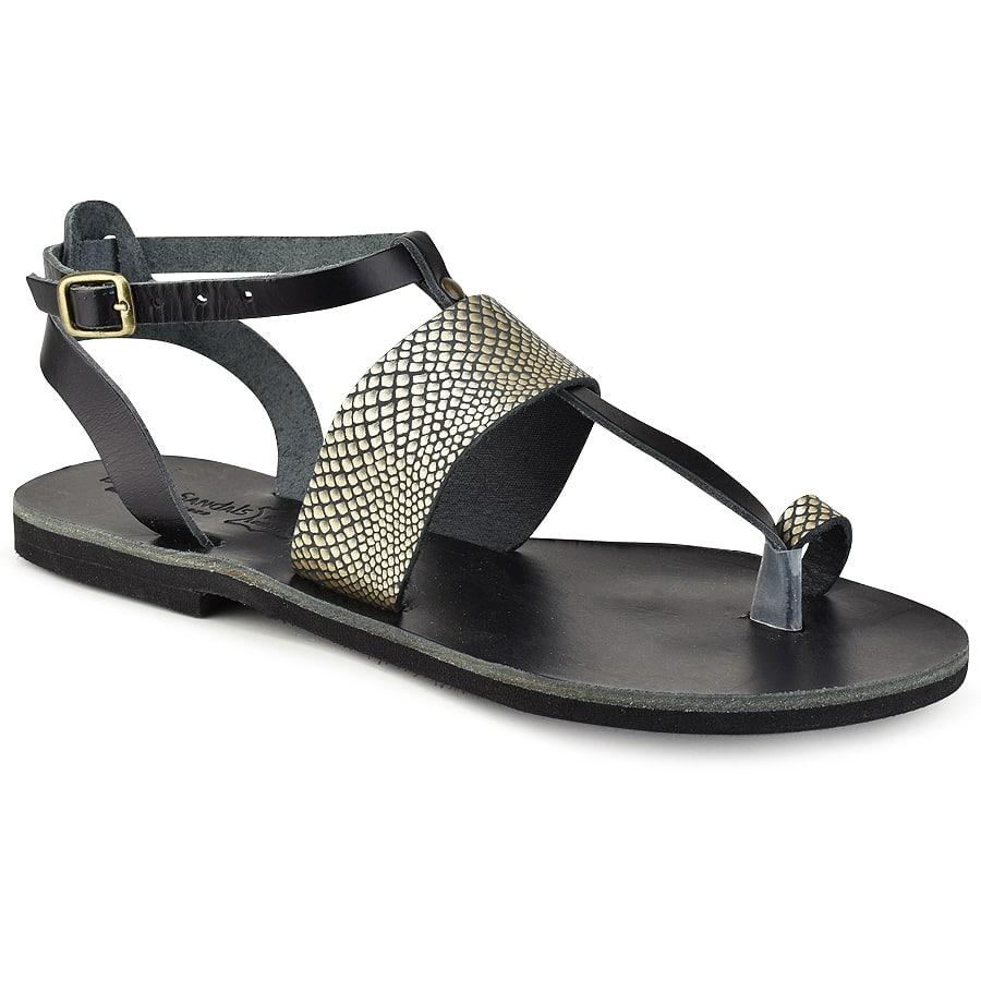 Δερμάτινο μαύρο με χρυσό σαυρέ σανδάλι Tsakiris Sandals TS608