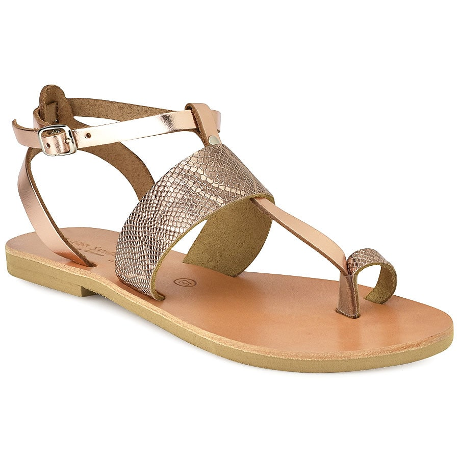 Δερμάτινο χάλκινο κροκό σανδάλι Tsakiris Sandals TS608