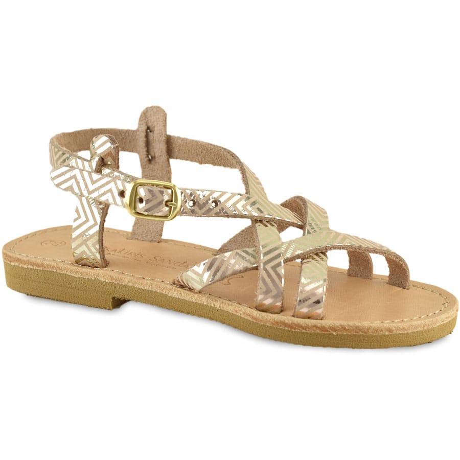 Δερμάτινο χρυσό παιδικό σανδάλι Tsakiris Sandals TSP154