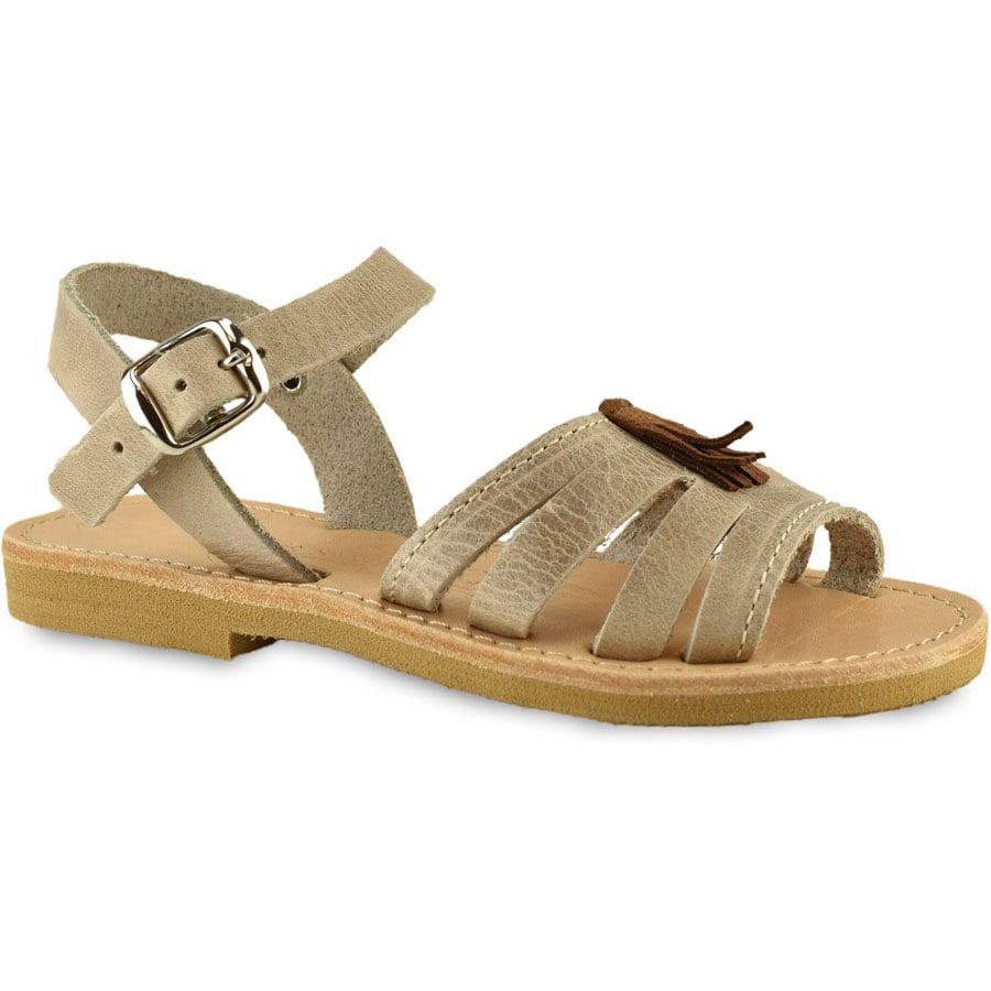 Δερμάτινο εκρου παιδικό σανδάλι Tsakiris Sandals TSP160