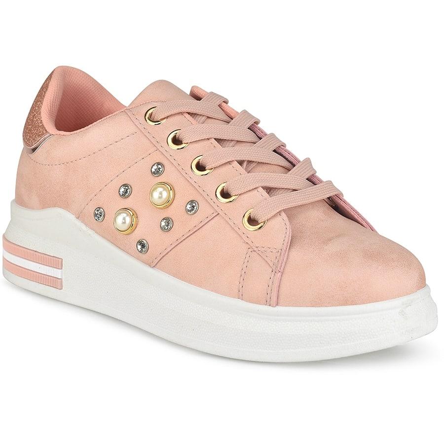 Ροζ sneakers με πέρλες W8312