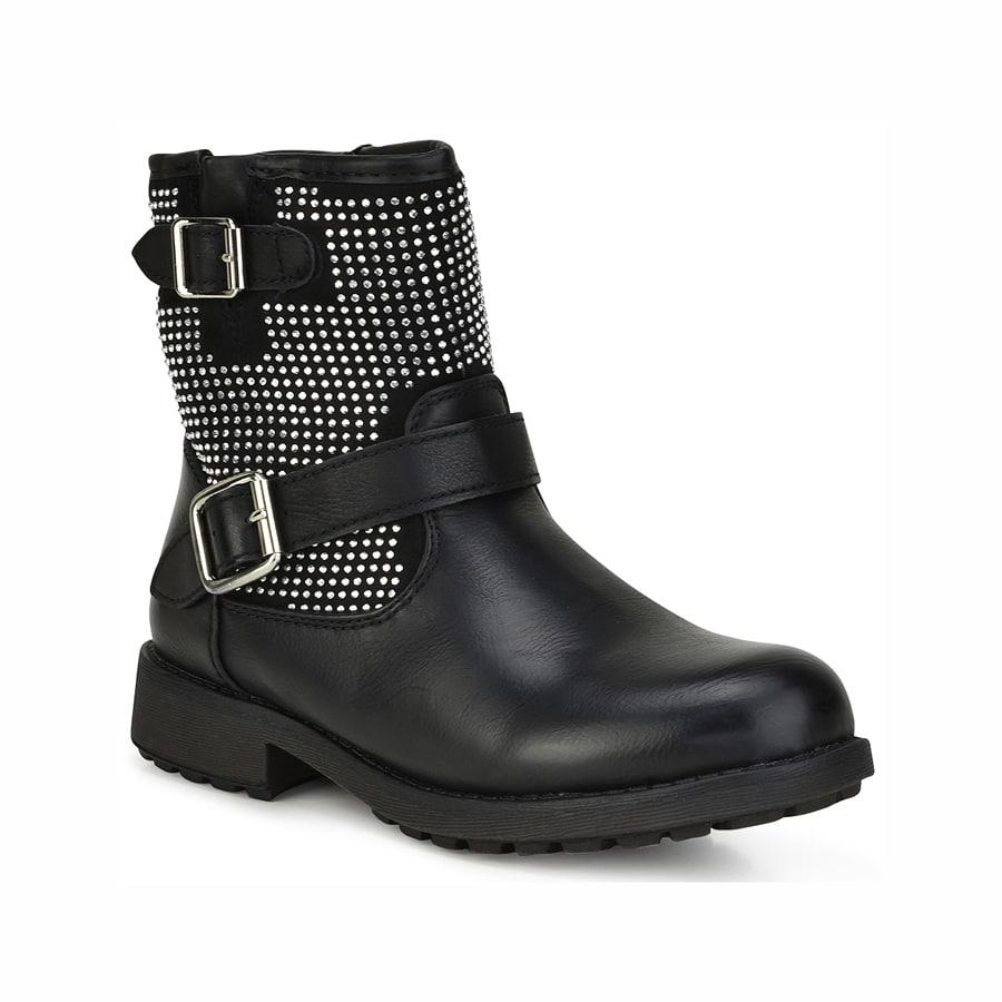 Μαύρο παιδικό biker boot ZL206